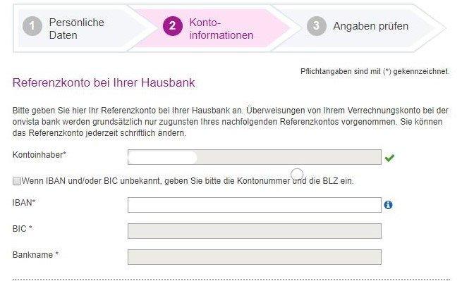Kontoinformationen Referenzkonto eintragen