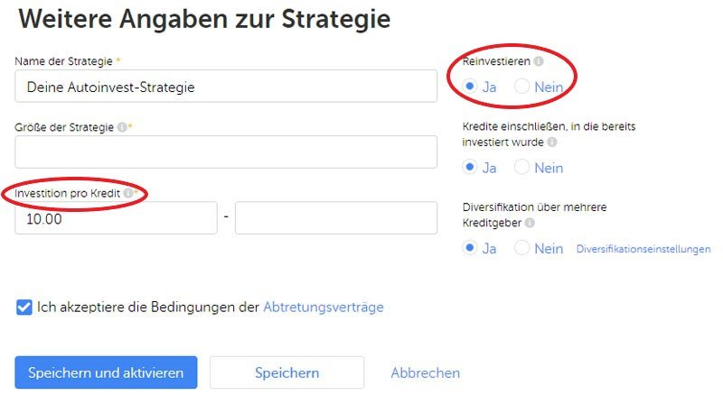 Autoinvest Strategie