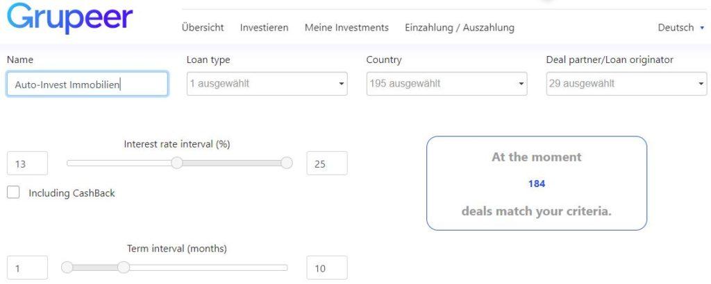 Grupeer Autoinvest für die P2P Investition